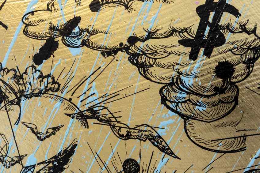 Behind the Clouds (gold/black, light blue splash), 2020 by Joseph Klibansky