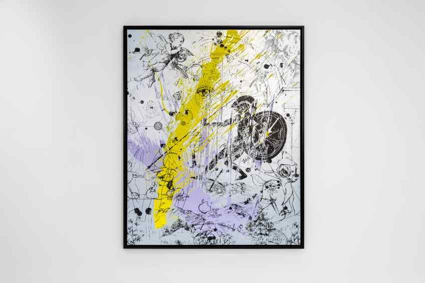 Into my Heart (silver/black, lilac and yellow splash), 2020 by Joseph Klibansky