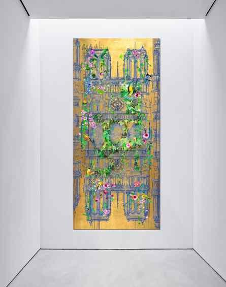 In gallery setting - Notre Dame (gold), 2015 by Joseph Klibansky