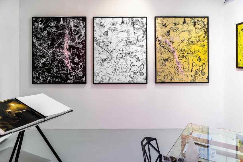I Sent Her Flowers (black/white, pastel pink splash), 2019 by Joseph Klibansky