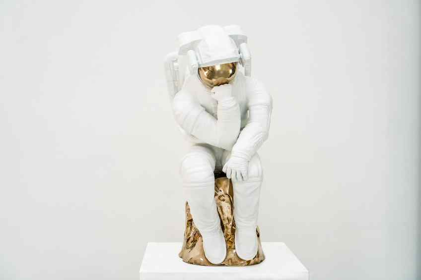The Thinker (painted bronze, white), 2018 by Joseph Klibansky
