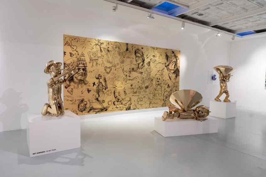 All three pinocchio's, Reflections of Truth I, II and III - Reflections of Truth III (polished bronze), 2019 by Joseph Klibansky