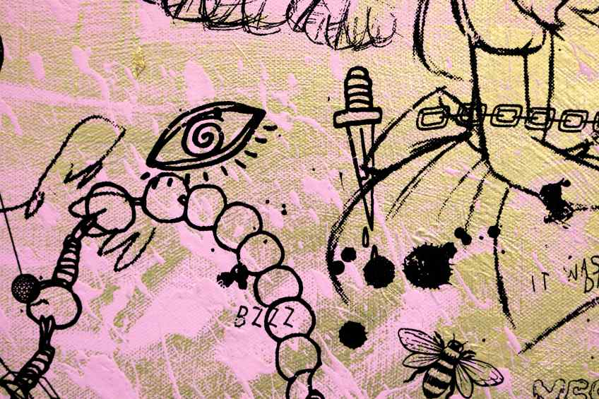 Villains In My Head (small 1, gold, pastal pink splash/black), 2019, 2019 by Joseph Klibansky