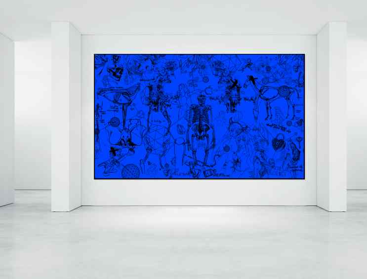 Love Potions (blue) hanging on a gallery wall - Love Potions (blue), 2016 by Joseph Klibansky