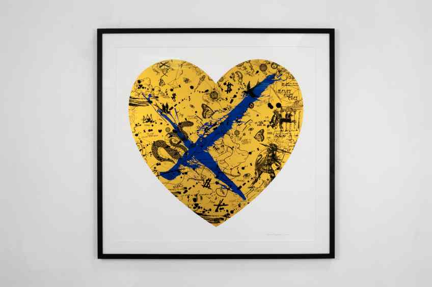 She Came To Break Hearts (edition, gold/black, ultramarine blue splash), 2020 by Joseph Klibansky