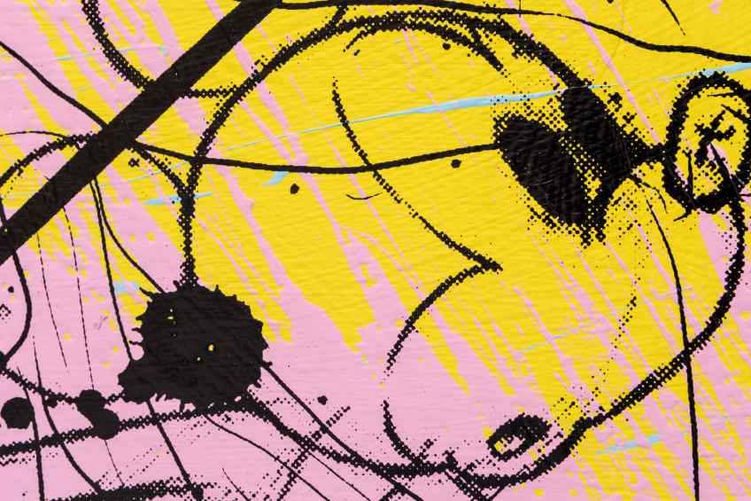 Can We Kiss Forever (yellow/black, pastel pink and blue splash), 2020 by Joseph Klibansky