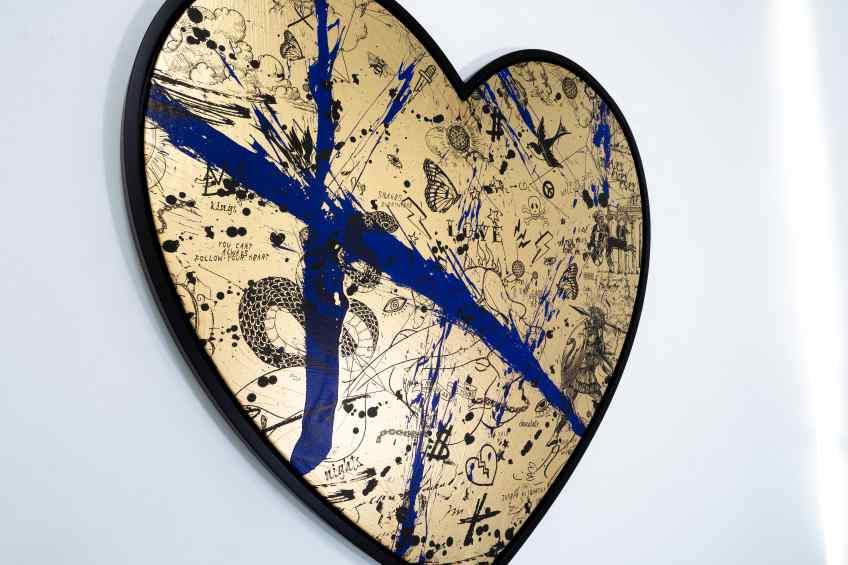 She Came To Break Hearts (gold/black, ultramarine blue splash), 2020 by Joseph Klibansky