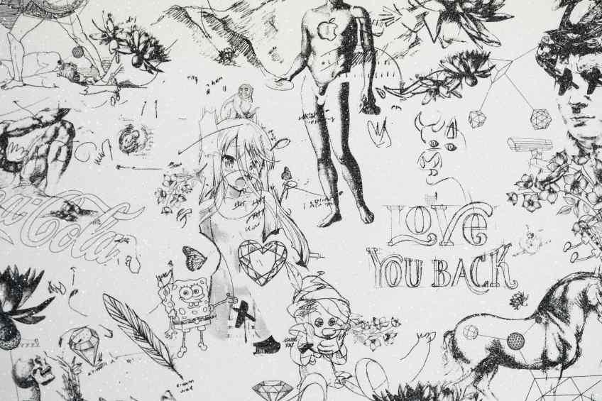 Love You Back (edition, white/black, diamond dust), 2017 by Joseph Klibansky