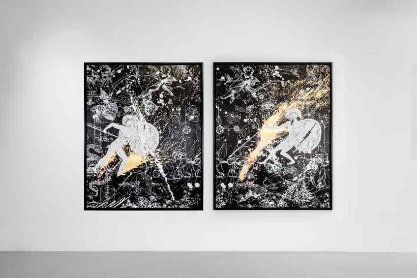 Forever Mine (black/white, gold, pink and white splash), 2020 by Joseph Klibansky