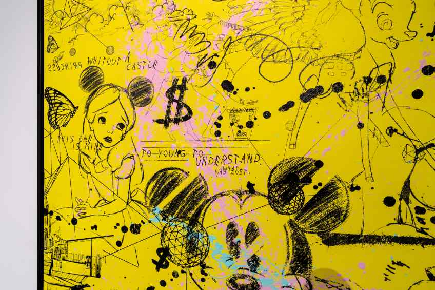 Caught Up In A Dream (yellow/black, pastel pink and turquoise splash), 2019 by Joseph Klibansky