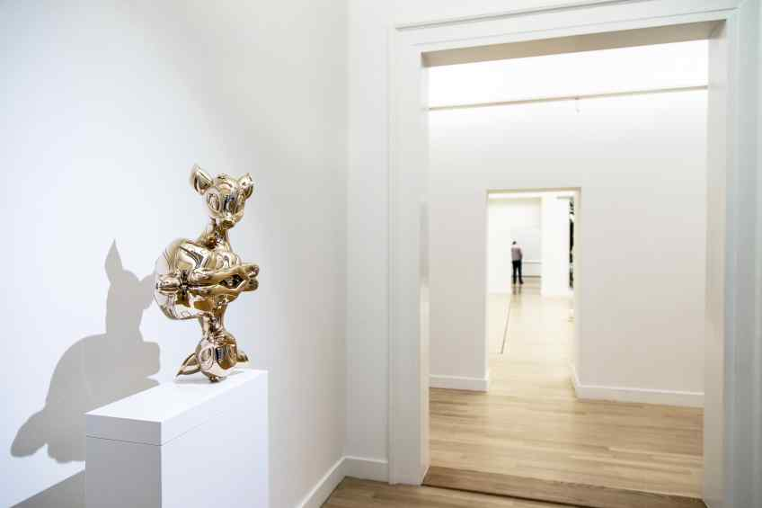 """Small """"Reflections of Youth"""" standing in Museum de Fundatie - Reflections of Youth (polished bronze), 2017 by Joseph Klibansky"""