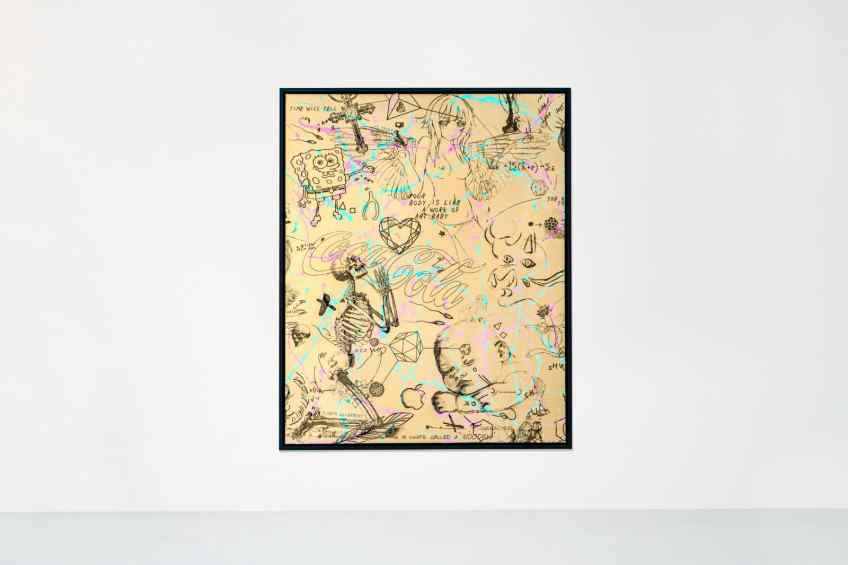 Your Body Is Like A Work Of Art Baby (gold/black, pastel pink and turquoise drips), 2018 by Joseph Klibansky