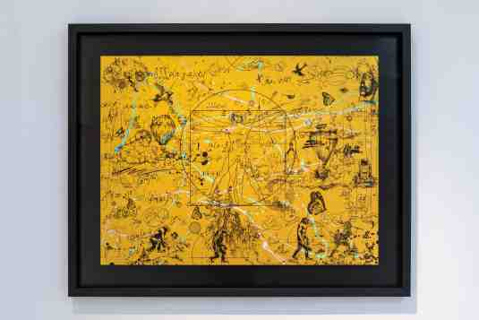 Beyond the Clouds (edition, gold/black, lilac and turquoise splash), 2020 by Joseph Klibansky