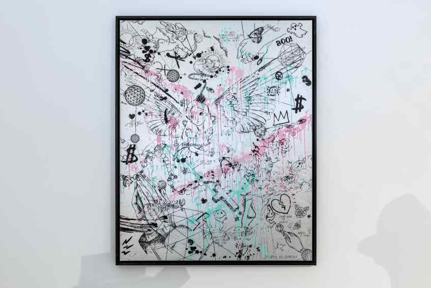Villains In My Head (silver/black, pastel pink and turquoise splash), 2019 by Joseph Klibansky