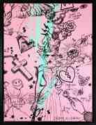 Villains In My Head (small 2, pastel pink, turquoise splash/black), 2019 by Joseph Klibansky