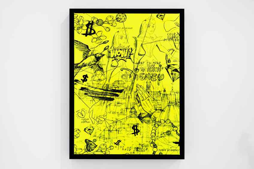 Love Over Diamonds (small, fluorescent yellow/black), 2018 by Joseph Klibansky