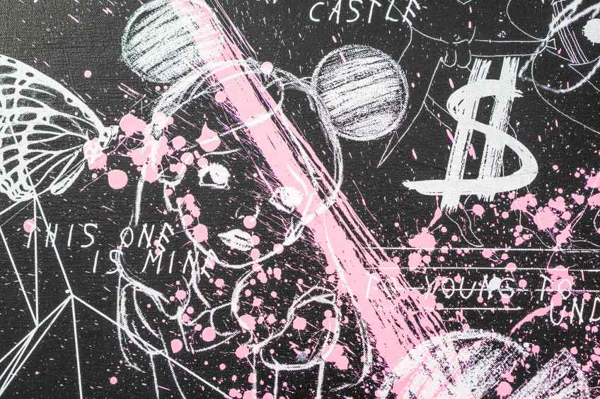 Caught Up In A Dream (black/white, pink splash), 2018 by Joseph Klibansky