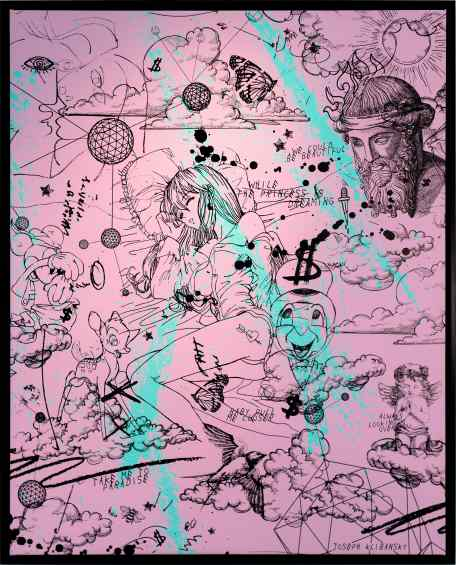 Take Me To Paradise (pink/black, turquoise splash), 2019 by Joseph Klibansky