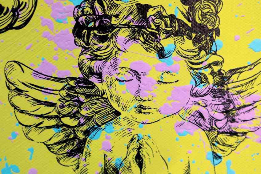 Take Me To Paradise (yellow/black, pink and turquoise splash), 2019 by Joseph Klibansky