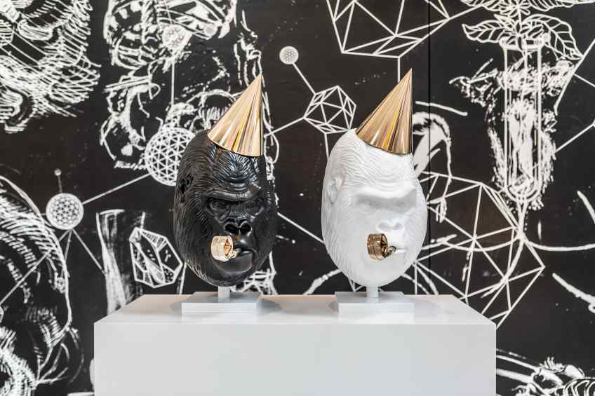 Black and White (small) Big Bangs next to each other. - Big Bang (painted bronze, black), 2016 by Joseph Klibansky