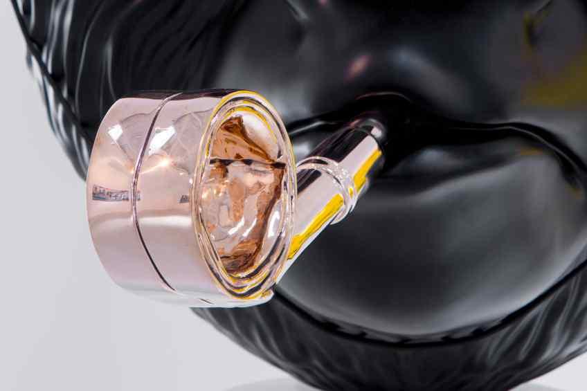 Close-up of ploshed bronze whistle - Big Bang (painted bronze, black), 2016 by Joseph Klibansky