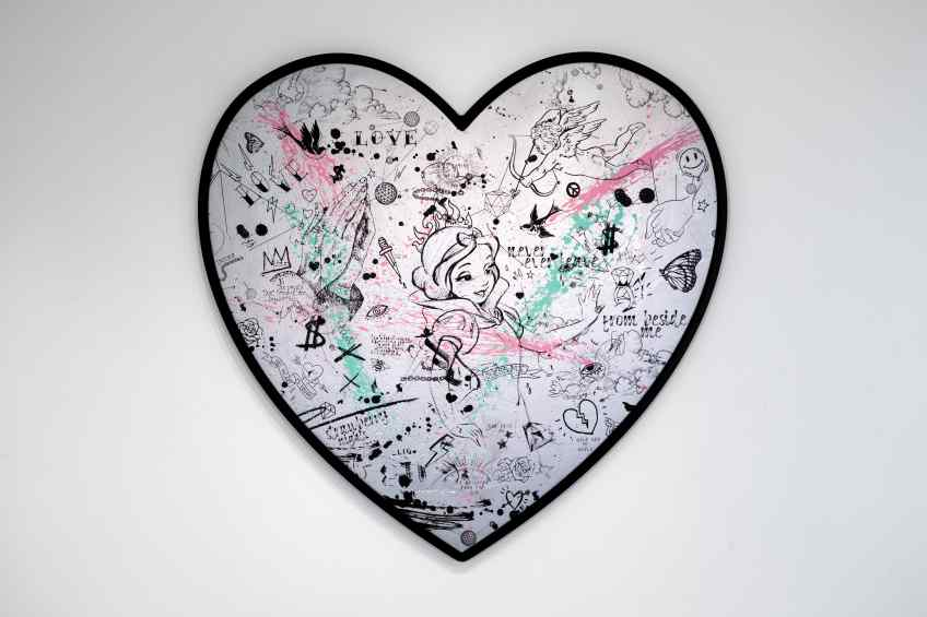 My Heart Is Yours (silver/black, pink and turquoise splash), 2019 by Joseph Klibansky