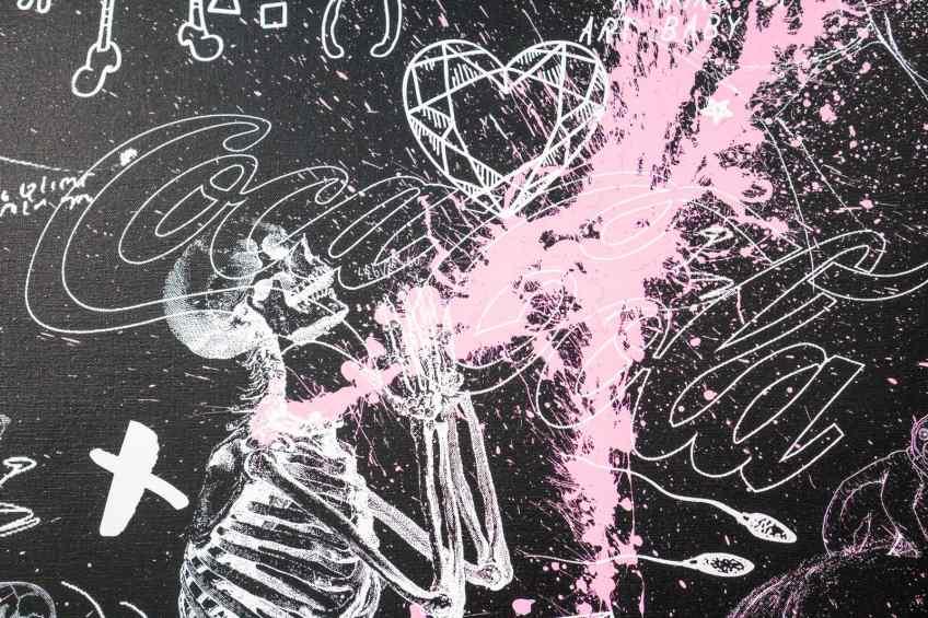 Your Body Is Like A Work Of Art Baby (black/white, pink splash),  by Joseph Klibansky