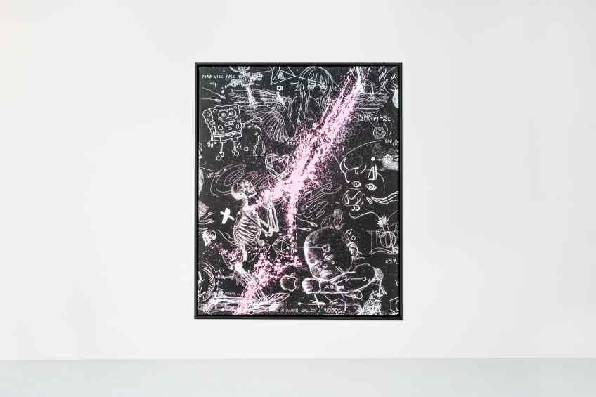 Your Body Is Like A Work Of Art Baby (black/white, pink splash), 2018 by Joseph Klibansky