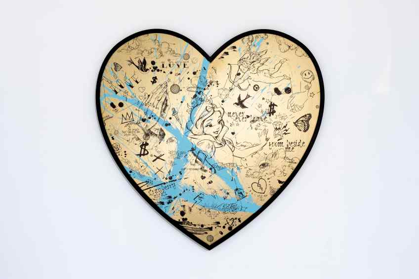 My Heart Is Yours (gold/black, pastel green splash), 2020 by Joseph Klibansky