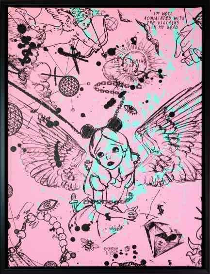 Villains In My Head (small 1, pastel pink, turquoise splash/black), 2019 by Joseph Klibansky