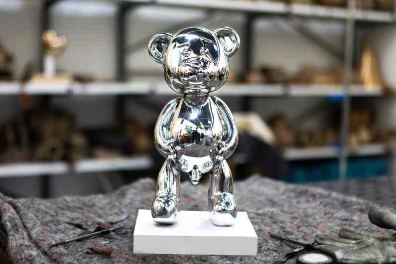 Pipi Bear (polished aluminium), 2017 by Joseph Klibansky