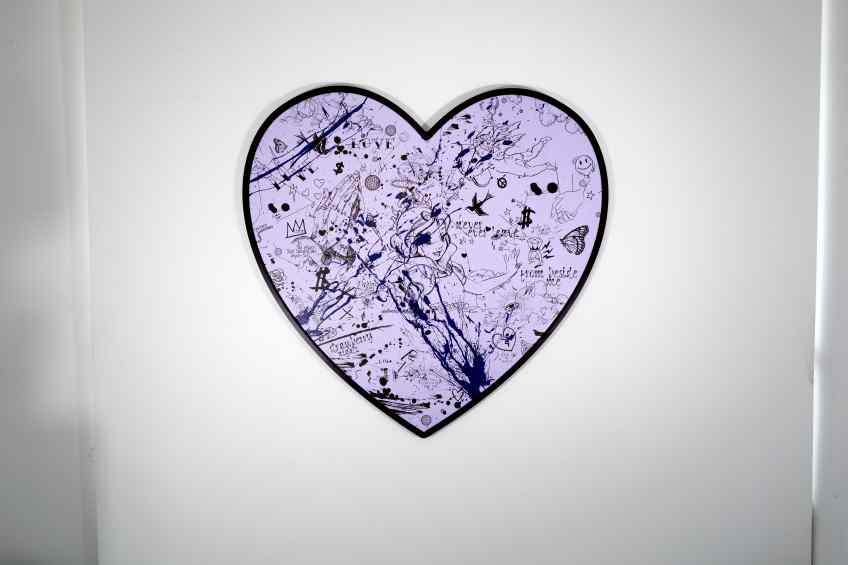 My Heart Is Yours (lilac/black, ultramarine blue splash), 2020 by Joseph Klibansky