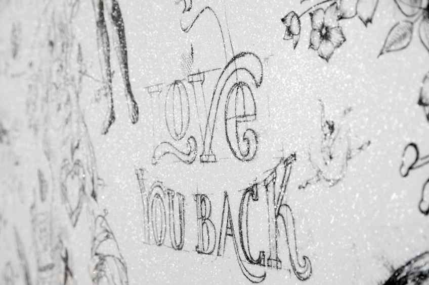 Love You Back (white/black, diamond dust), 2017 by Joseph Klibansky