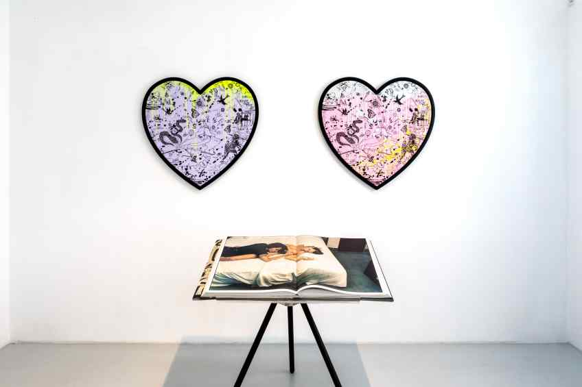 She Came To Break Hearts (lilac/black, fluorescent yellow drips), 2020 by Joseph Klibansky
