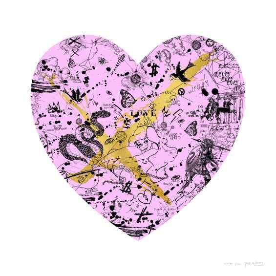 She Came To Break Hearts (edition, pink/black, gold splash), 2020 by Joseph Klibansky