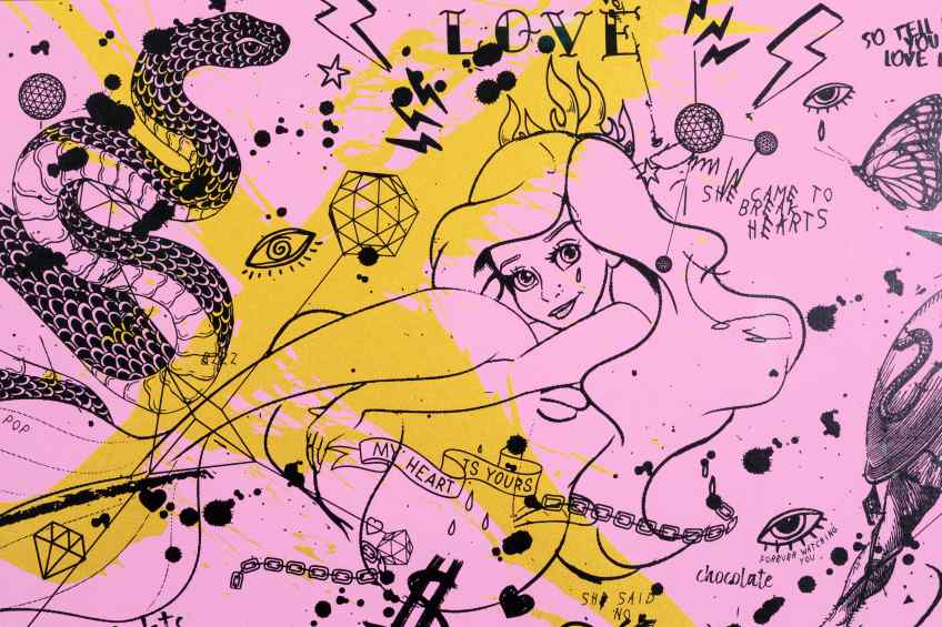 She Came To Break Hearts (edition, pink/black, gold splash), 2020 by Joseph Klibansky