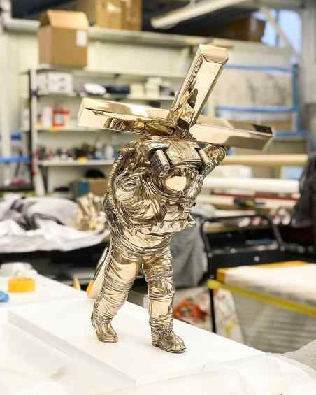 Small Leap of Faith in Klibansky's studio - Leap of Faith (bronze), 2016 by Joseph Klibansky