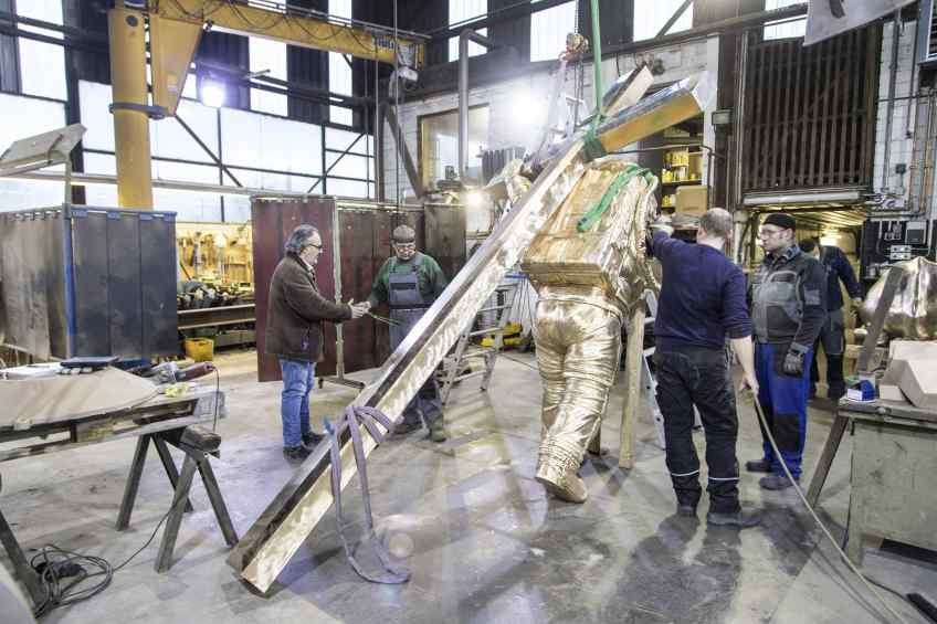 Production of Museum size Leap of Faith in bronze foundry - Leap of Faith (bronze), 2016 by Joseph Klibansky