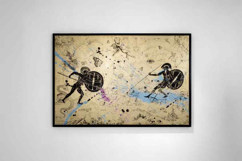 Can We Kiss Forever (gold/black, pastel pink and blue splash), 2020 by Joseph Klibansky