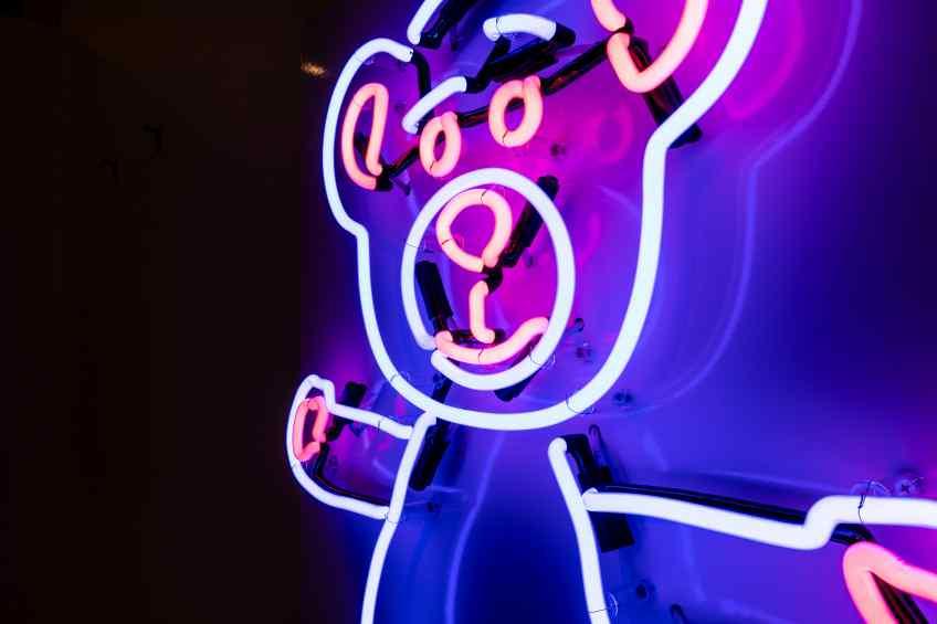 Neon Bare Hug (ocean blue, radiant pink), 2020 by Joseph Klibansky