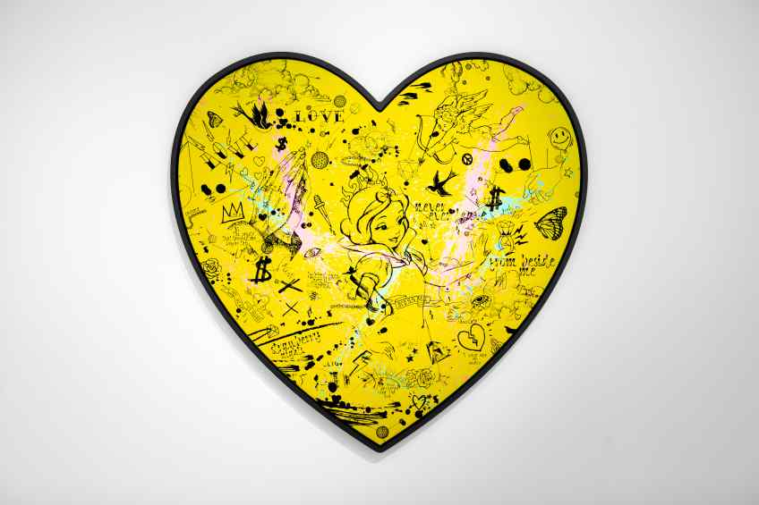My Heart Is Yours (yellow/black, pink and turquoise splash), 2019 by Joseph Klibansky