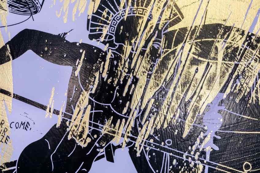 Forever Mine (gold/black, lilac splash), 2020 by Joseph Klibansky