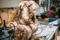 the Tinker in the artist's studio - The Thinker (bronze),  by Joseph Klibansky