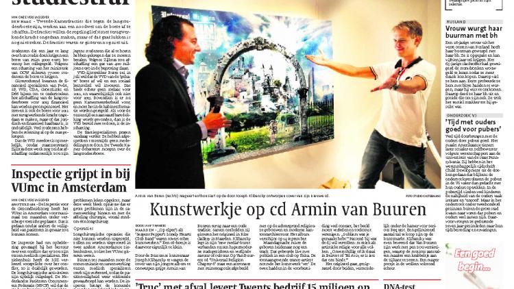 Leidsch Dagblad - Kunstwerk op cd Armin van Buuren door Joseph Klibansky