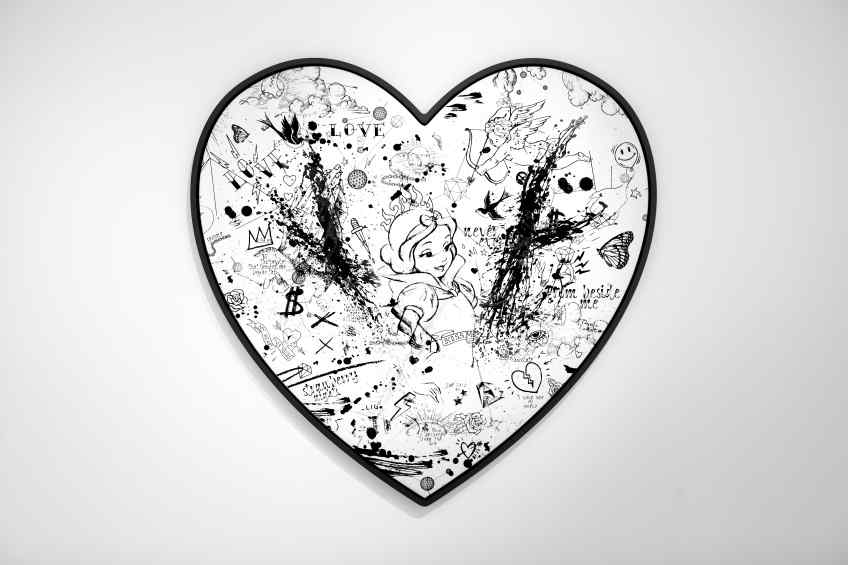 My Heart Is Yours (white/black, black splash, diamond dust), 2019 by Joseph Klibansky