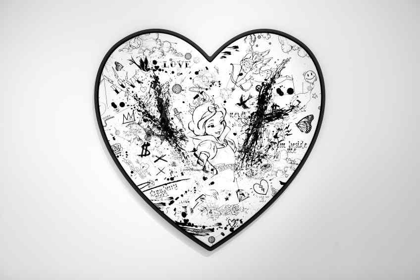 My Heart Is Yours (white/black, black splash, diamond dust), 2019 by Joseph Klibansky