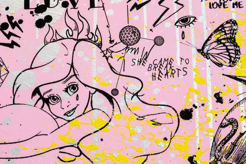 She Came To Break Hearts (pink/black, yellow splash and silver drips), 2020 by Joseph Klibansky