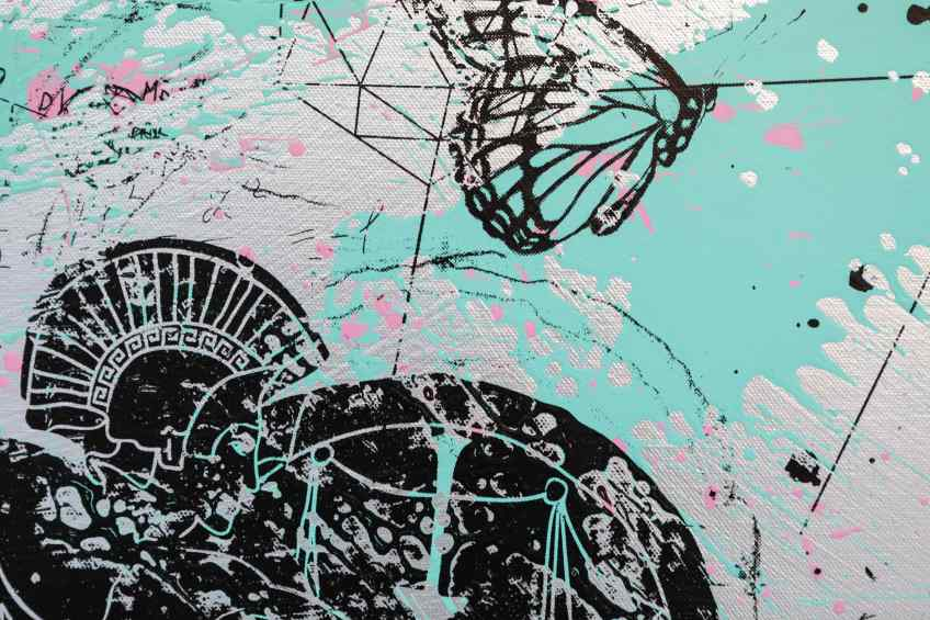 Can We Kiss Forever (silver/black, pastel pink and turquoise splash), 2020 by Joseph Klibansky