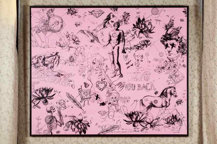 Love You Back (pink/black), 2016 by Joseph Klibansky