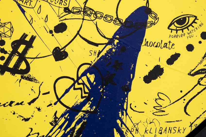She Came To Break Hearts (yellow/black, ultramarine blue splash), 2020 by Joseph Klibansky